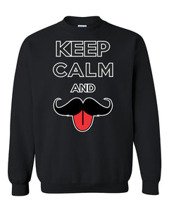 Keep Calm and Mustache Funny Crewneck Sweater