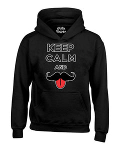 Keep Calm and Mustache Funny Unisex Hoodie