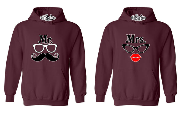 Mr Mustache Glasses and Mrs Red Lips Glasses Cartoon Couples Unisex Hoodies