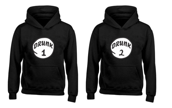 Drunk 1 Drunk 2 Funny Drinking Team, 4th of July Independence day Couples Unisex Hoodies