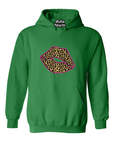 Lips Cheetah Leopart Pink Outline Cute Fashion Unisex Hoodie