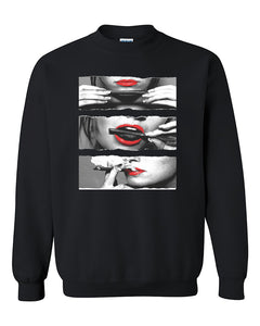 Blunt Roll Red Lips Joint Weed Smoker Shirts Crewneck Sweater