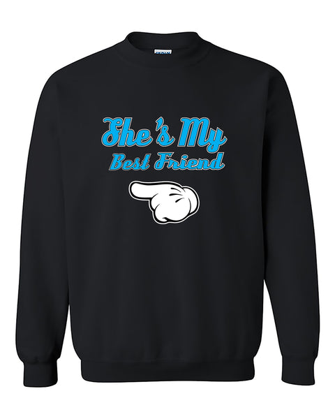 She's My Best Friend Blue BFFs Cute Fashion Crewneck Sweater