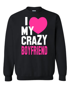 I love My Crazy Boyfriend Couples Cute Valentine's Day Gift Crewneck Sweater