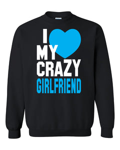 I love My Crazy Girlfriend Couples Cute Valentine's Day Gift Crewneck Sweater