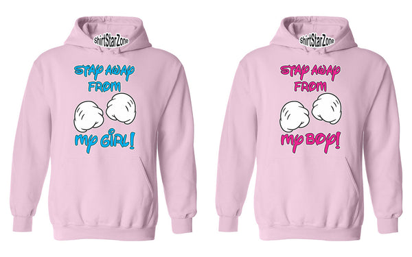 Stay Away From My Girl, Stay Away From My Boy Funny Cartoon Hands Couples Unisex Hoodies