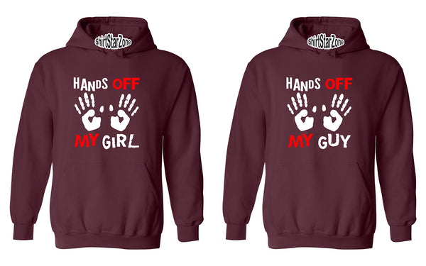 Hands Off My Girl and Hands Off My Guy Funny Couples Unisex Hoodies