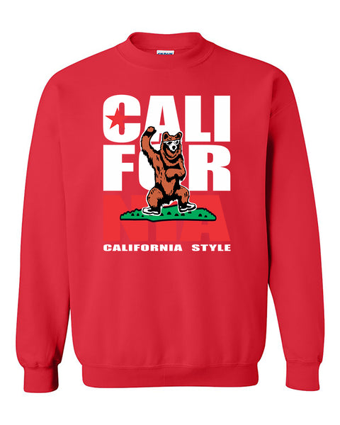 California Gangam Style Bear Flag Pattern Fashion Crewneck Sweater