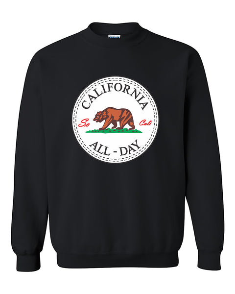 California All Day Round So Cali Life Brown Bear West Coast Crewneck Sweater