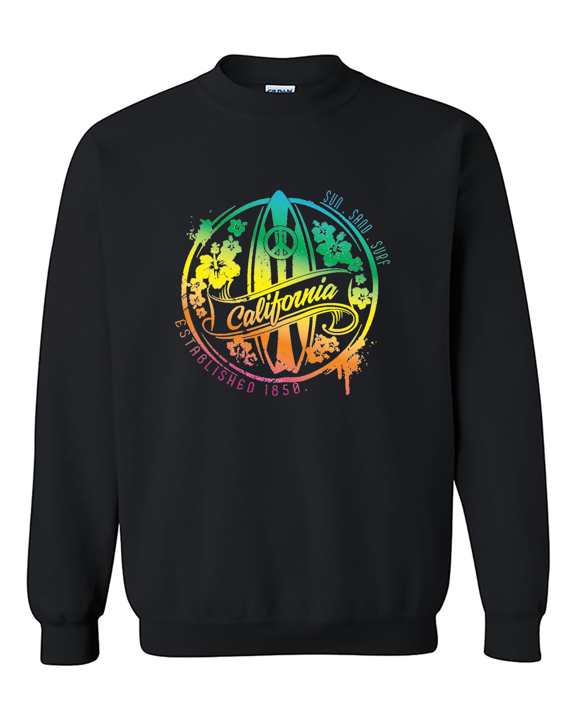 California Sun Sand Surf State Peace State Fashion Surf board Crewneck Sweater