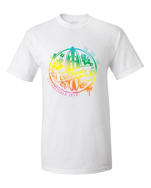 california-sun-sand-surf-state-peace-state-fashion-surf-board-t-shirt