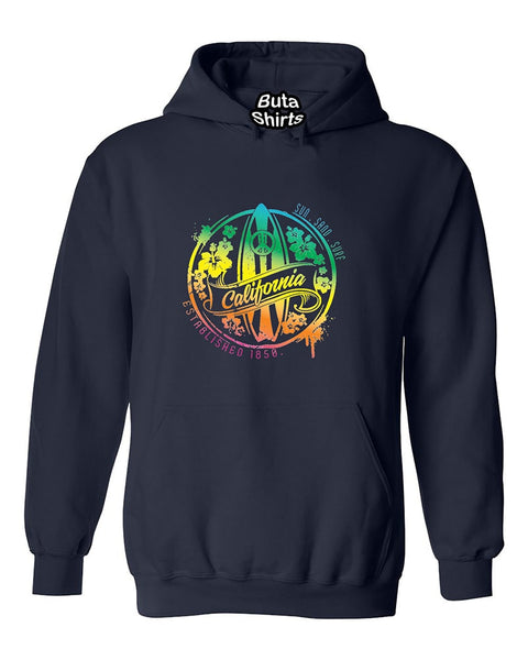 California Sun Sand Surf State Peace State Fashion Surf board Unisex Hoodie