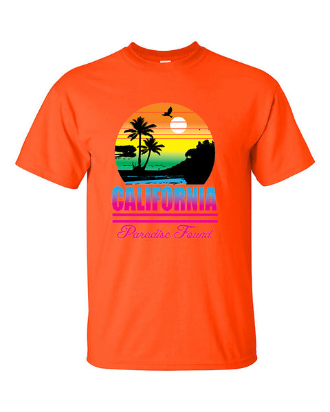 california-beach-sunset-palm-trees-paradise-found-cali-sunset-t-shirt