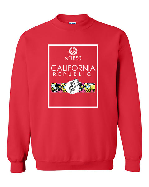 No 1850 California Republic Floral Palm Tree Beach Coutyre Crewneck Sweater