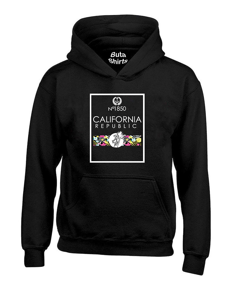 No 1850 California Republic Floral Palm Tree Beach Coutyre Unisex Hoodie