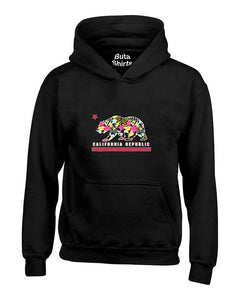 California Republic Bear Floral Pattern Cali Bear West Coast Cali life Unisex Hoodie