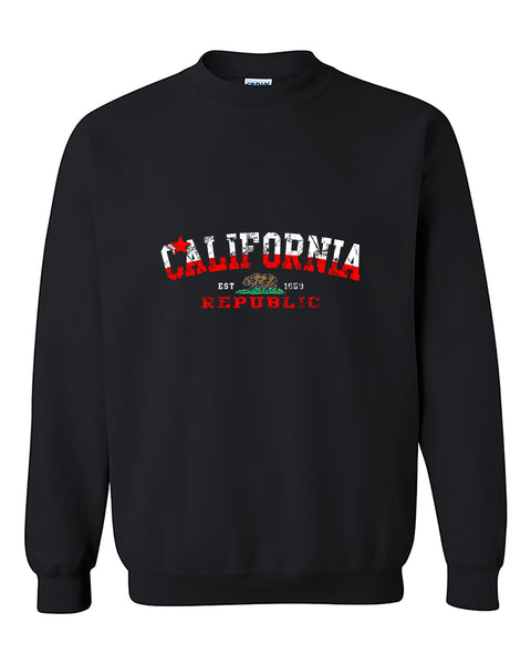 California Republic Cali Flag Pattern State Flags West Coast Cali Love Crewneck Sweater