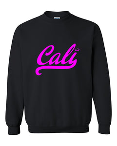 Cali Cursive Pink California Republic West Coast Cali Style Fashion Crewneck Sweater