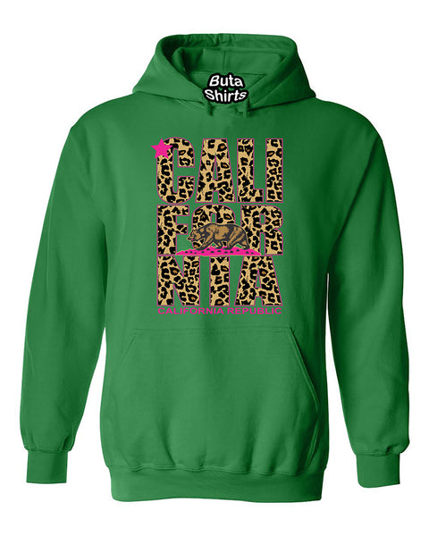 California Cheetah Pattern Bear Leopard West Coast Unisex Hoodie