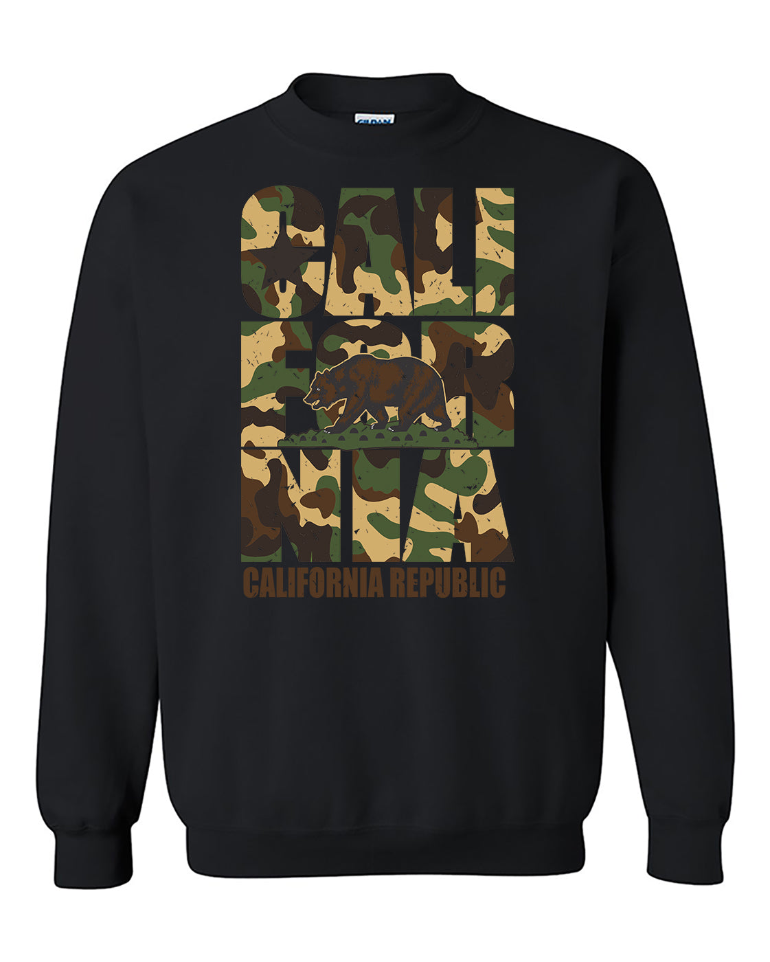 California Camoflag  Vintage California Republic Camoflag Cali Bear Crewneck Sweater