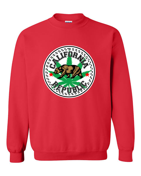 California Weed Republic Bear 420 Weed Smokers Stoned Pot Leaf Crewneck Sweater