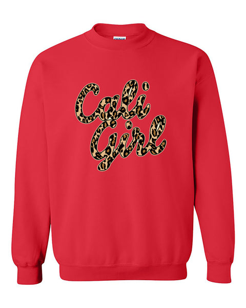 Cali Girl Cheetah Leopard Cali Life California Republic Wast Coast Crewneck Sweater
