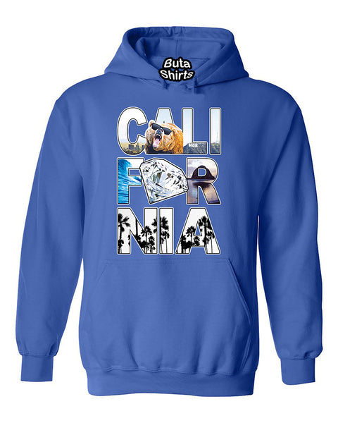 Califronia Republic Bear Hollywood Diamond Beach Palm Tree Pattern Unisex Hoodie