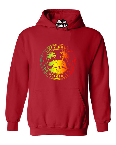 California Golden State Rasta Colors California Bear 420 Weed Smokers Unisex Hoodie