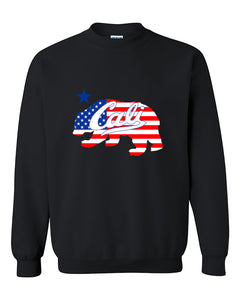 Cali Bear USA Flag Pattern California Republic bear American Flag Crewneck Sweater