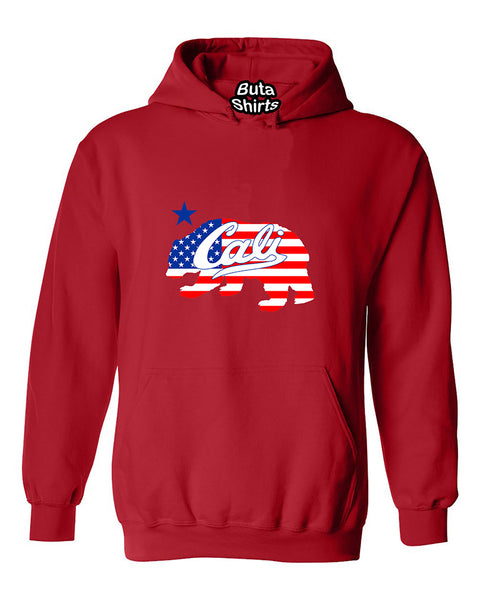 Cali Bear USA Flag Pattern California Republic American Flag Unisex Hoodie