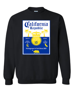 California Republic Bear Golden State West Coast Palm Palm Trees Yellow Crewneck Sweater