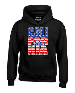 California Republic Bear Vintage USA Flag Pattern West Coast Native Unisex Hoodie