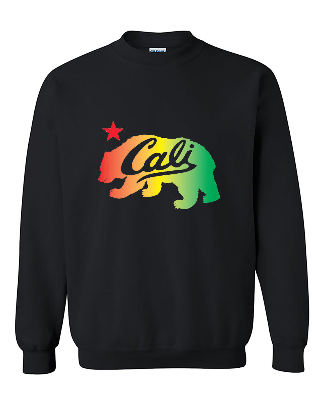 Cali Bear Rasta California Republic 420 Marijuana Weed Smokers Crewneck Sweater