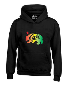 Cali Bear Rasta California Republic 420 Marijuana Weed Smokers Unisex Hoodie