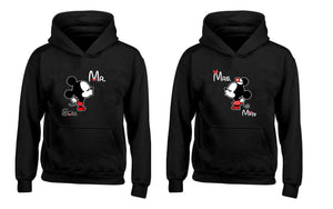 Cartoon Character Mr Soul and Mrs Mate Heart Couples Unisex Hoodies