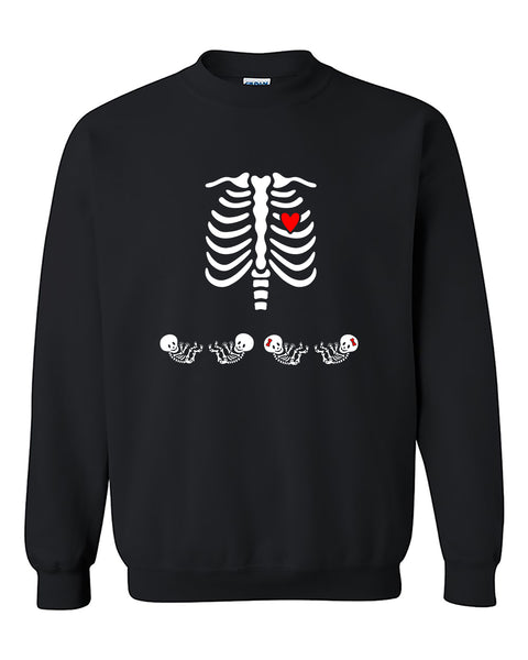 Skeleton Pregnant Skull baby Day of Dead Halloween Crewneck Sweater