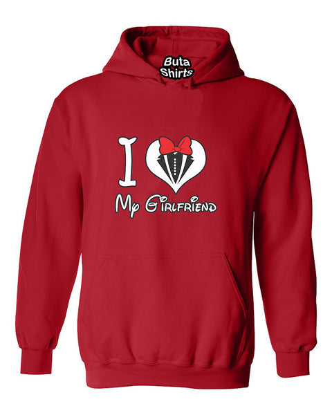 I love My Girlfriend Heart Couples Matching loves Valentine's Day Gift Unisex Hoodie
