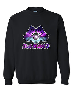 Mickey Hands Diamond Galaxy fashion Cute Diamond Crewneck Sweater
