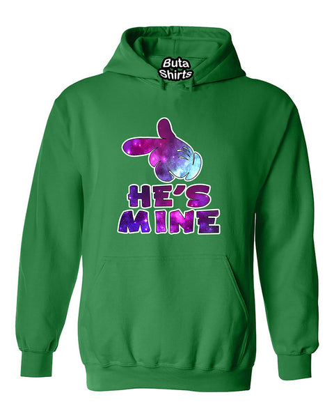 Cartoon Hands He's Mine Galaxy Couples Valentine's Day Gift Unisex Hoodie