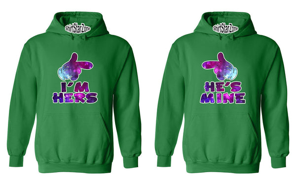 Cartoon Hands Galaxy I'm Hers and He's Mine Couples Unisex Hoodies