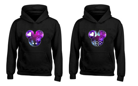 Cartoon Character Galaxy Head His and Her Couples Unisex Hoodies
