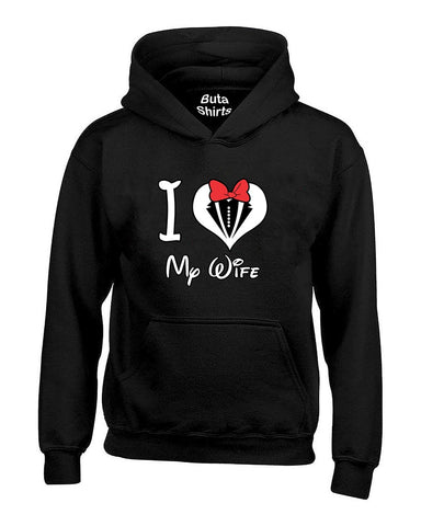 I love My Wife Heart Couples Matching loves Valentine's Day Gift Unisex Hoodie