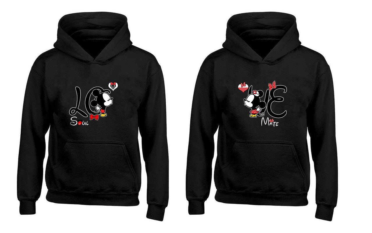 Cartoon Character Love Soul and Mate Heart Couples Unisex Hoodies