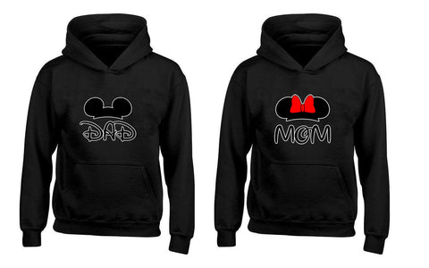 Cartoon Character Dad and Mom Couples Unisex Hoodies