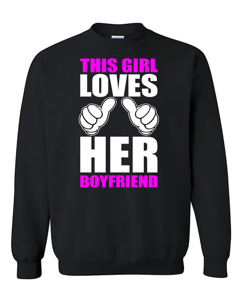 This Girl Loves His Boyfriend Couples Valentine's Day Gift Crewneck Sweater