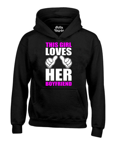 This Girl Loves His Boyfriend Couples Valentine's Day Gift Unisex Hoodie