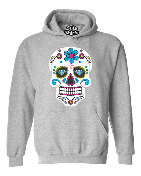 White Skull Diamond Eyes Head Skull Sugar flower Cute Unisex Hoodie
