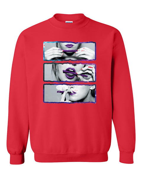 Blunt Roll Galaxy Lips Joint 420 Joint Weed Smoker Shirts Crewneck Sweater
