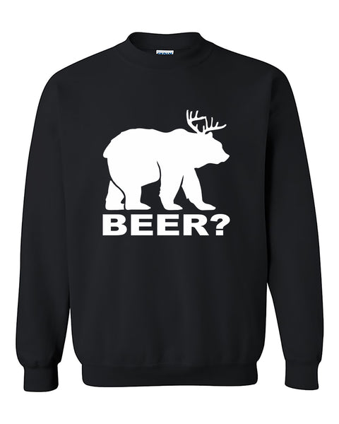 Beer Deer Funny Beer Party Drinking Crewneck Sweater