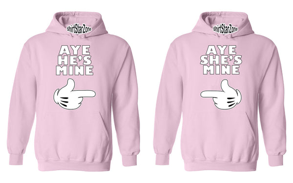 Cartoon Hands Aye He's Mine, Aye She's Mine Couples Unisex Hoodies